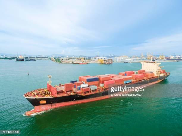 aeriel view container shipping by container ship by sea .