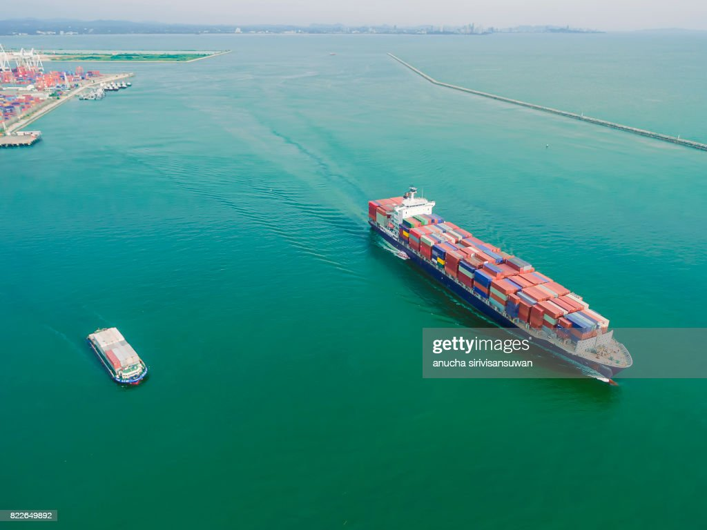aeriel view container shipping by container ship by sea . : Stock Photo