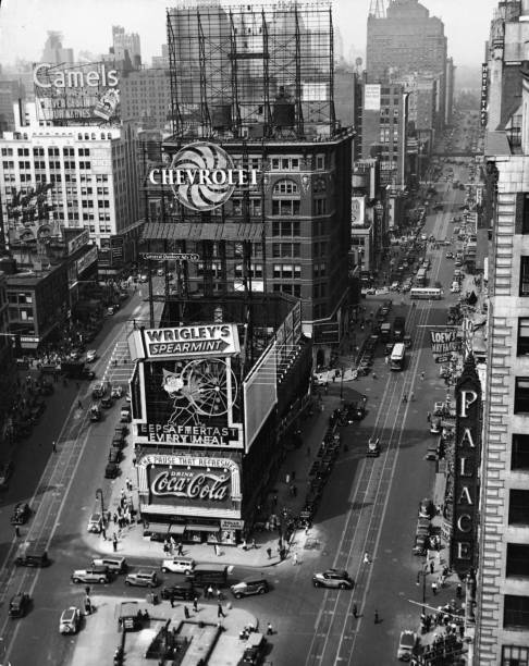 Aeriel view looking down on Times Square, New York,...