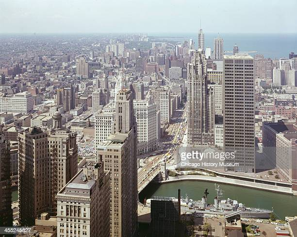 Aeriel view looking north of downtown buildings and the Chicago River Chicago Illinois mid 20th century
