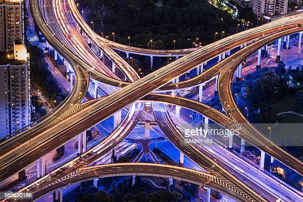 aeriel view of  expressway interchange at night,Shanghai,China