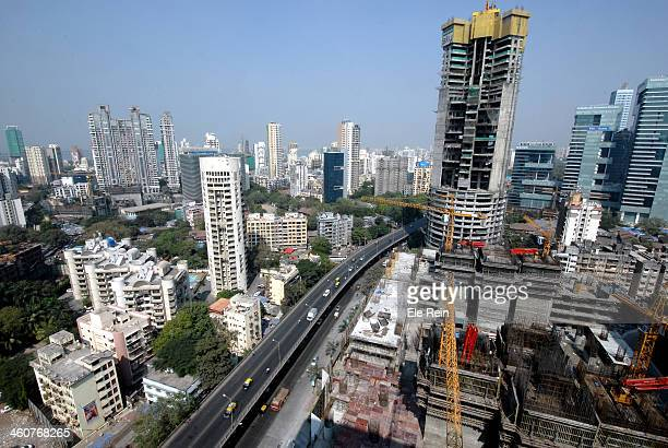 Aeriel view of Mumbai,India.Skyscrapers and flyover of 'Lower Parel' former cotton mill locality and currently a buzzing real estate district of...