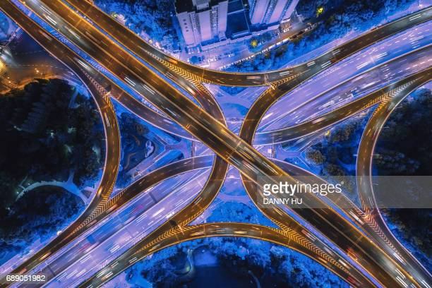 aeriel view of overpass in Shanghai at night