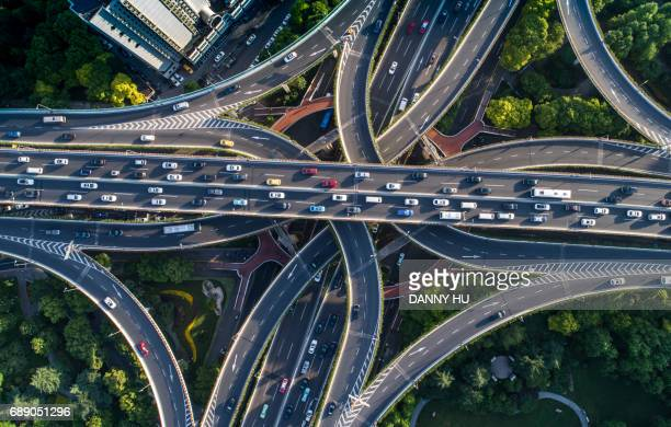 aeriel view of overpass in Shanghai