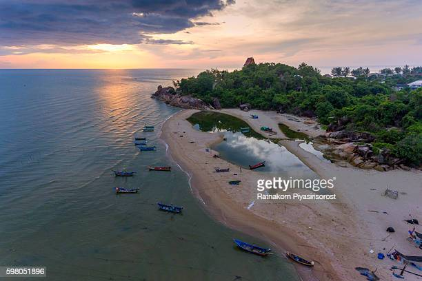 aeriel view of songkhla beach with fisherman village - male stripper stock pictures, royalty-free photos & images