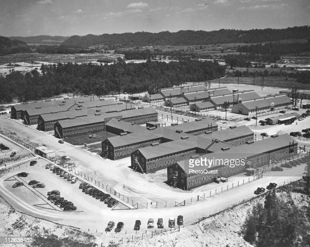 Aeriel view of the Atomic Energy Commission Administration Building Oak Ridge Tennessee 1945 The buildings and indeed the entire city of Oak Ridge...