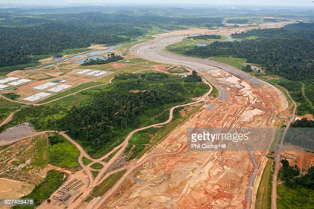 Aeriel view over the construction site of the Belo Monte hydroelectric dam, the largest infrastructure project in Brazil and one of the biggest in...