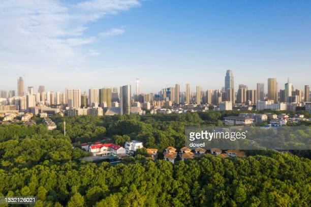 aerila view modern city - hubei province stock pictures, royalty-free photos & images