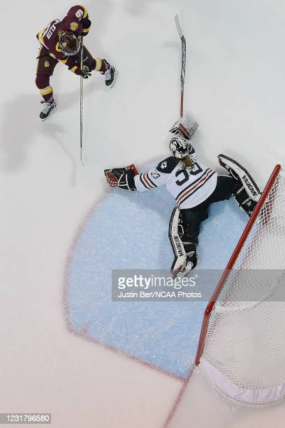 Aerin Frankel of the Northeastern Huskies attempts to poke the puck away from Anna Klein of the Minnesota Duluth Bulldogs in the overtime period of...