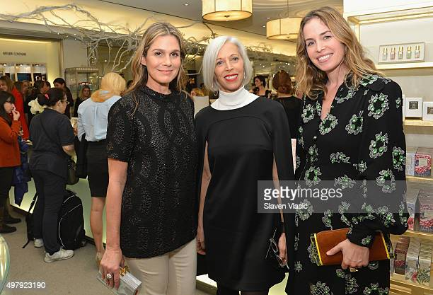 Aerin Lauder Bergdorf Goodman's Linda Fargo and designer Brett Heyman of Edie Parker attend AERIN Beauty x Edie Parker Collaboration Launch at...