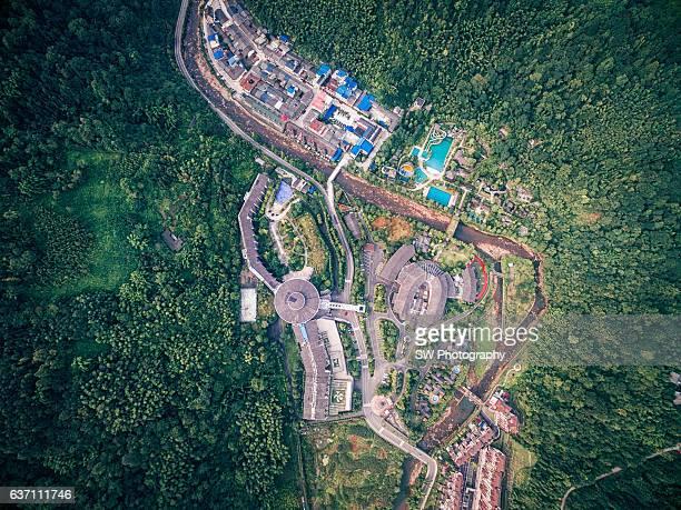 Aero photo of Huashuiwan town in Sichuan Province, China