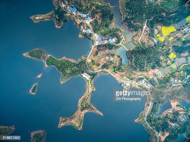 Aero photo of the Black Dragon's lake in Sichuan Province, China
