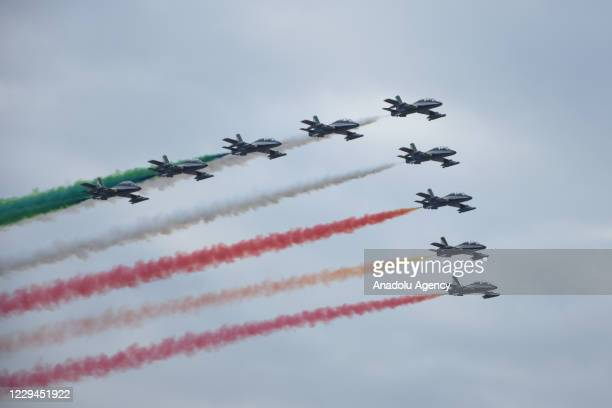 """Aerobatic demonstration team of the Italian Air Force, """"Frecce Tricolori"""" performes to mark National Unification and Armed Forcesâ Day over the..."""