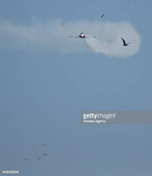 Aerobatic demonstration team of the Turkish Air Force 'Turkish Stars' perform an air show during the celebrations of the 95th anniversary of Kocaelis...