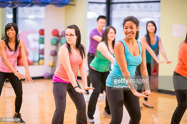 aerobic dance class at the gym - black cheerleaders stock photos and pictures