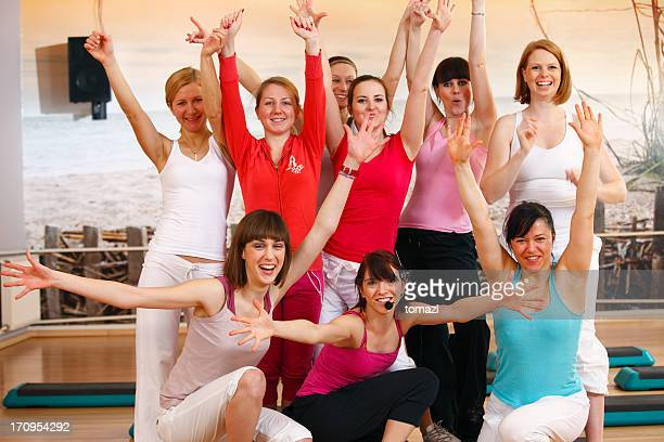 aerobics group photo - class photo stock photos and pictures
