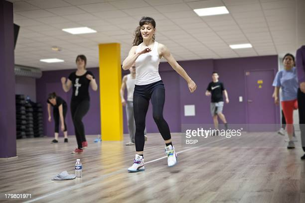 Aerobics Zumba class in a fitness center