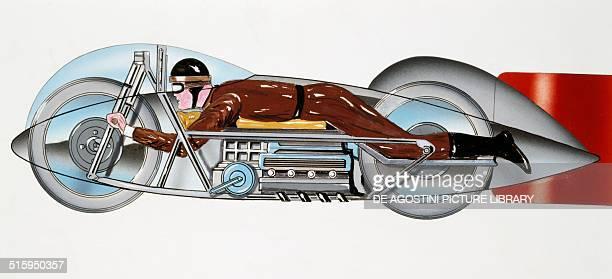 Aerodynamic Collinge motorcycle drawing