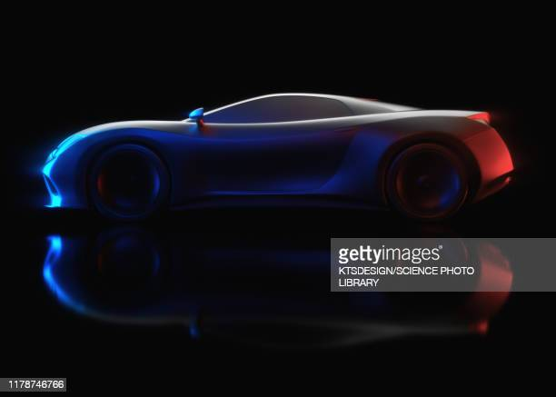 aerodynamic sports car, illustration - futuristic car stock pictures, royalty-free photos & images