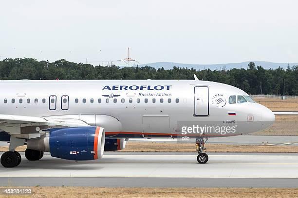Aeroflot Airbus A 320, taxiing on runway