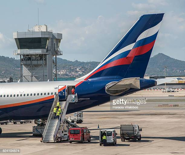 Aeroflot Airbus A330 in Terminal 1 of BarcelonaEl Prat Airport in Barcelona Spain 06 September 2015 Aeroflot – Russian Airlines is the flag carrier...