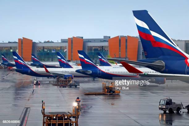 Aeroflot aircrafts at Moscow Sheremetyevo airport