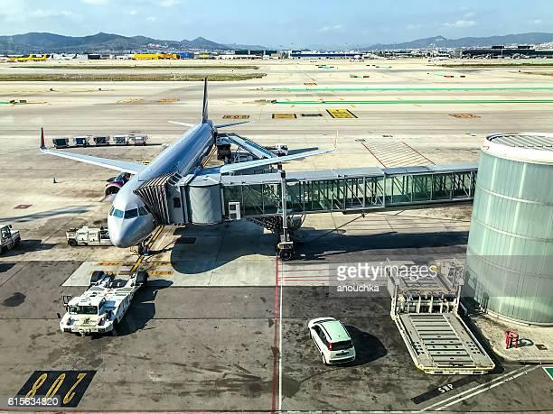 Aeroflot Airplane being prepared for flight, Barcelona