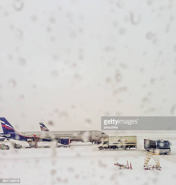 Aeroflot airplane seen through the airport window, Moscow, Russi
