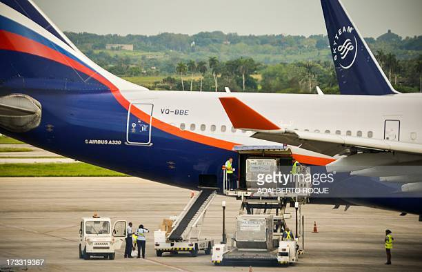 Aeroflot flight 150 aircraft at the terminal of the Jose Marti airport in Havana on July 11 2013 Cuban leader Raul Castro on Sunday said Havana...