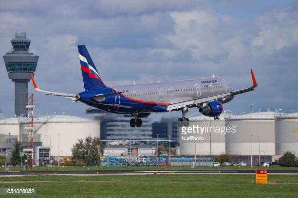 Aeroflot Russian Airlines Airbus A321200 with registration VPBAX landing at Amsterdam Schiphol Airport in The Netherlands The aircraft's name is S...