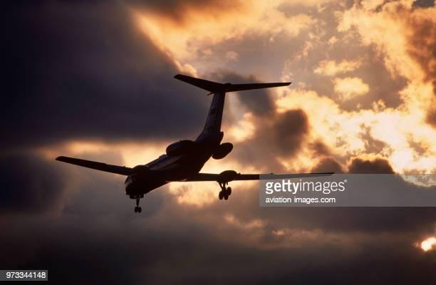 Aeroflot Russian Airlines Tupolev Tu134 Crusty on finalapproach at dusk