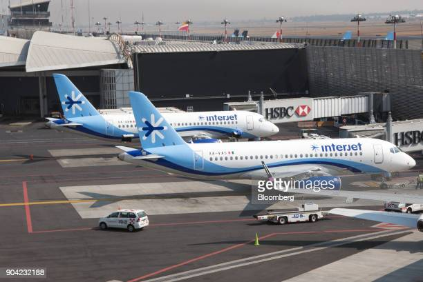 ABC Aerolineas SA de CV airplanes sit on the tarmac at Benito Juarez International Airport in Mexico City Mexico on Friday Jan 5 2018 Interjet made a...
