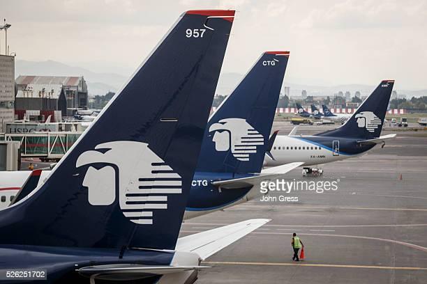 Aeromexico airplanes at Aeropuerto Internacional Benito Ju��rez in Mexico City September 20 2015