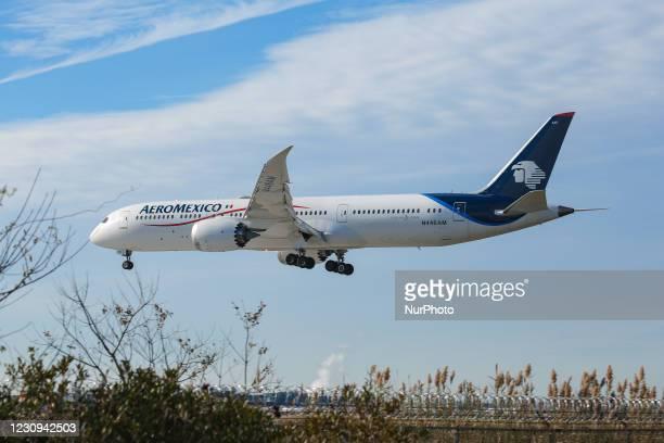 Aeromexico Boeing 787 Dreamliner passenger aircraft as seen flying on final approach for landing at New York JFK John F Kennedy International...