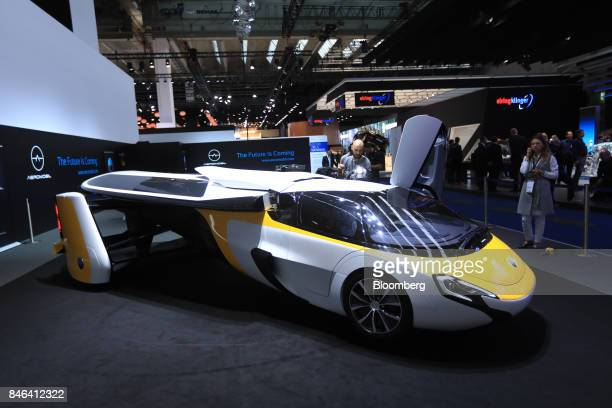 A AeroMobil sro flying car sits on display during the second media preview day of the IAA Frankfurt Motor Show in Frankfurt Germany on Wednesday Sept...