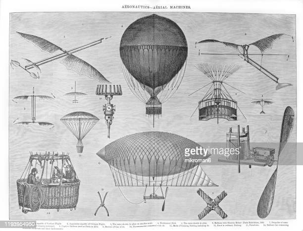 aeronautics, aerial machines old engraved illustration  , popular encyclopedia published 1894 - flying stock pictures, royalty-free photos & images