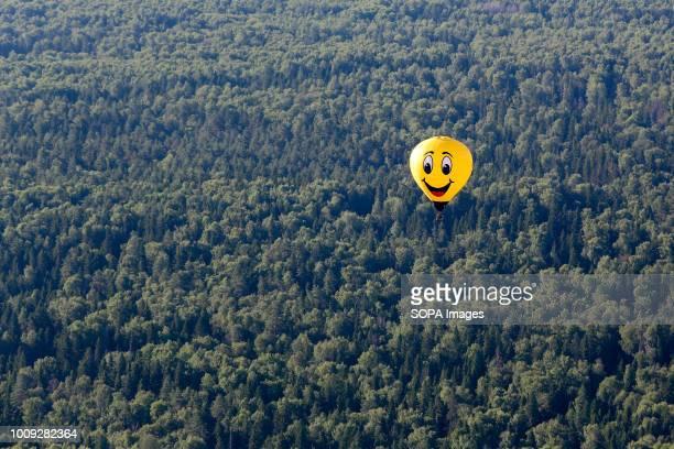 Aeronautics balloon seen above the forest The Aeronautics championship takes place in the Nizhny Novgorod region 14 teams from Russia and Germany...