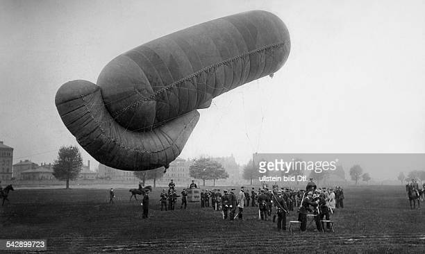 Aeronautics ballooning in Germany military dirigible balloon aascending in Berlin at the Tempelhofer Field 1897