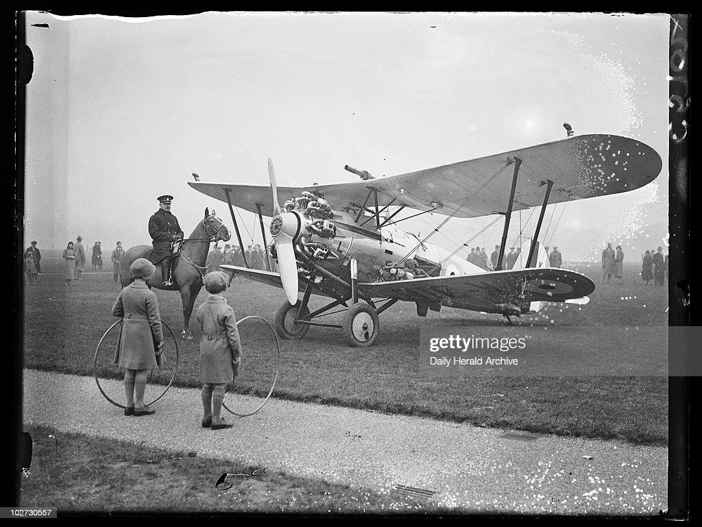 Aeroplane in Hyde Park, 1933. : News Photo