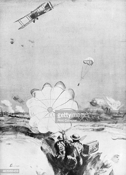 Aeroplane supplying ammunition to the British front line World War I 19141918