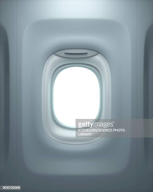 aeroplane window, illustration - avion fotografías e imágenes de stock
