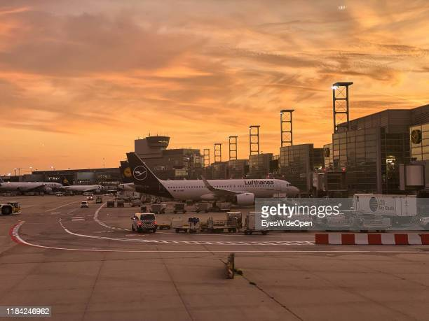 Aeroplanes and passengers at the terminal and gates of Frankfurt International Airport on October 15, 2019 in Frankfurt, Germany.