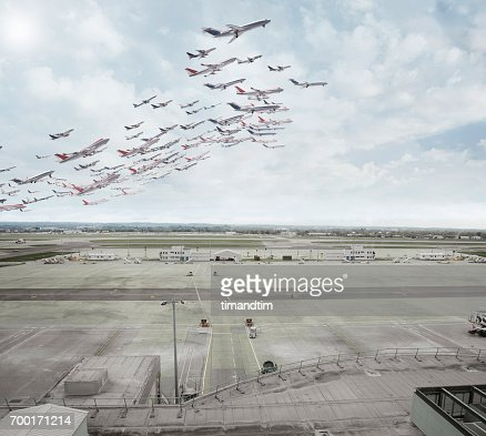 Aeroplanes taking off