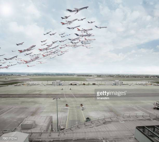 aeroplanes taking off - absence stock pictures, royalty-free photos & images