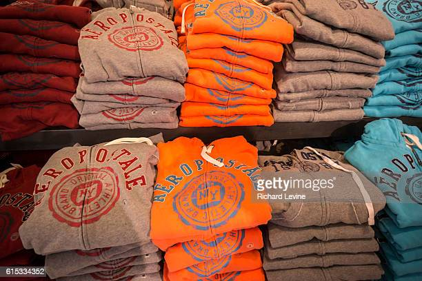 Aeropostale logo branded merchandise in their Times Square store in New York on Tuesday, January 5, 2016. Aeropostale reported that it will explore a...