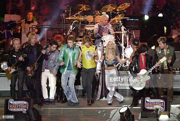 Aerosmith and Britney Spears all perform during the halftime show for Super Bowl XXXV January 28, 2001 at the Raymond James Stadium in Tampa, FL.