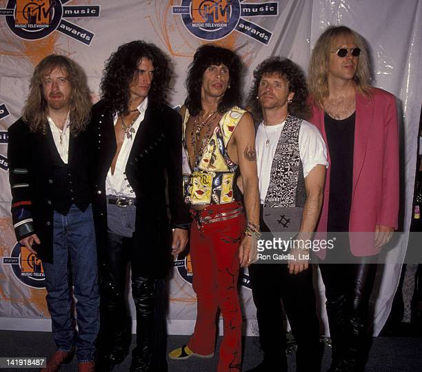 Aerosmith attends Seventh Annual MTV Video Music Awards on September 6 1990 at the Universal Ampitheater in Universal City California