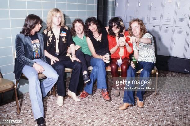 Aerosmith backstage at a venue in Mobile Alabama United States 24th May 1978 Mark Radice Tom Hamilton Joey Kramer Steven Tyler Joe Perry Brad Whitford
