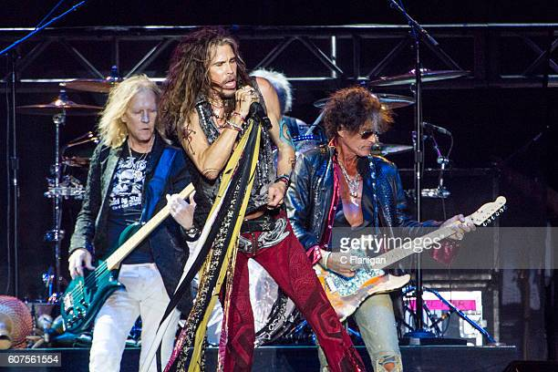 Aerosmith Brad Whitford Steven Tyler and Joe Perry performs at the 2016 KAABOO Del Mar at the Del Mar Fairgrounds on September 17 2016 in Del Mar...