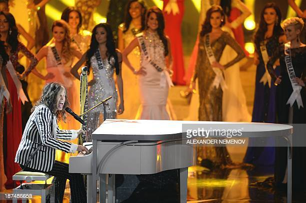 Aerosmith frontman Steven Tyler performs during the 2013 Miss Universe competition in Moscow on November 9 2013 Gabriela Isler a 25yearold Venezuelan...